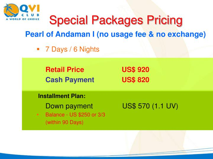 Special Packages Pricing