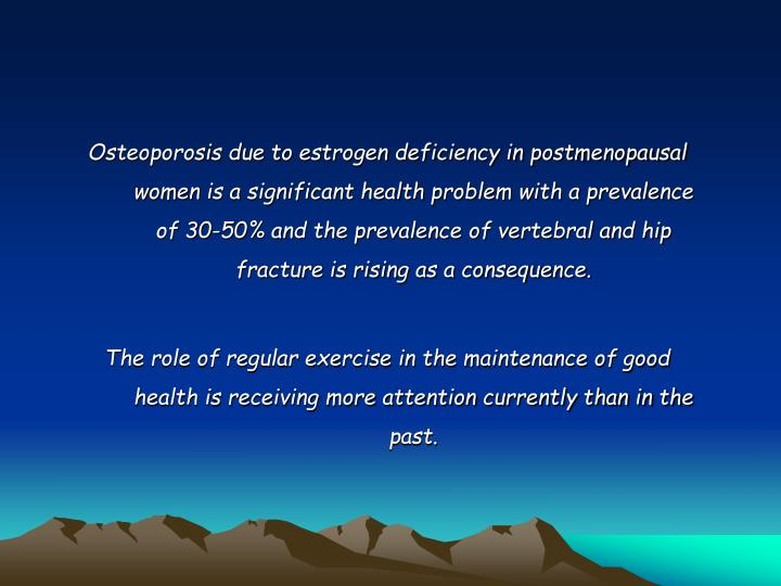 Osteoporosis due to estrogen deficiency in postmenopausal women is a significant health problem with a prevalence of 30-50% and the prevalence of vertebral and hip fracture is rising as a consequence.