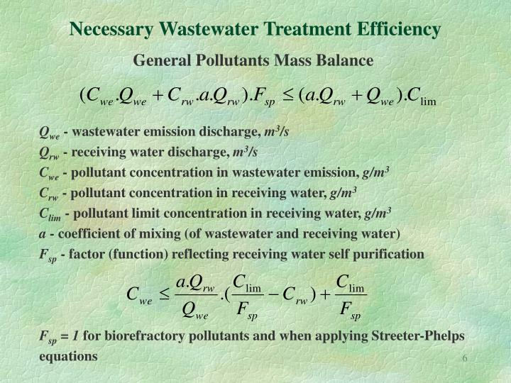 Necessary Wastewater Treatment Efficiency