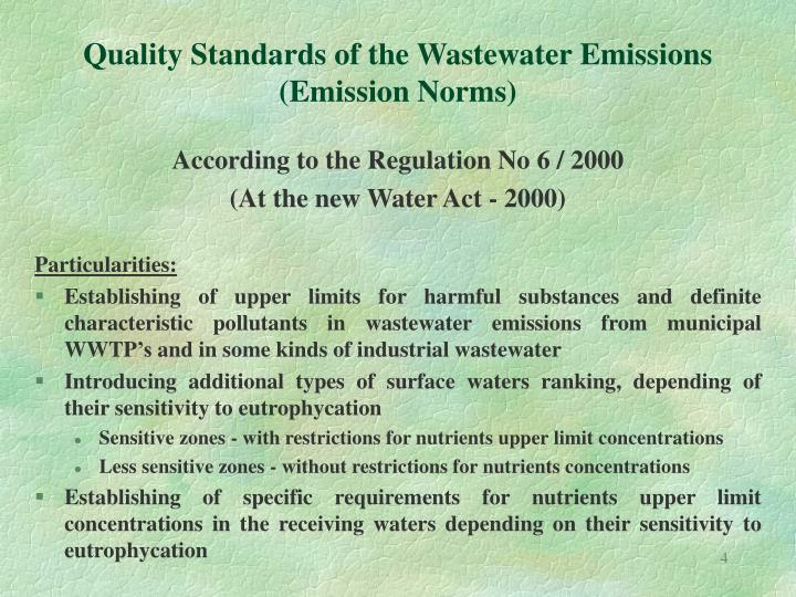 Quality Standards of the Wastewater Emissions