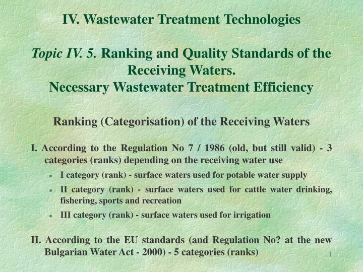 IV. Wastewater Treatment Technologies