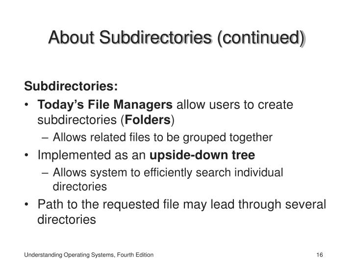 About Subdirectories