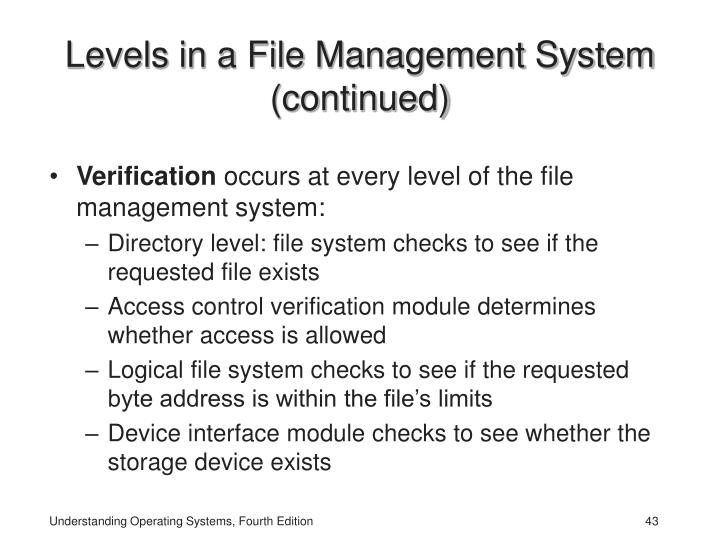 Levels in a File Management System