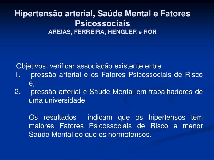 Hipertensão arterial, Saúde Mental e Fatores Psicossociais