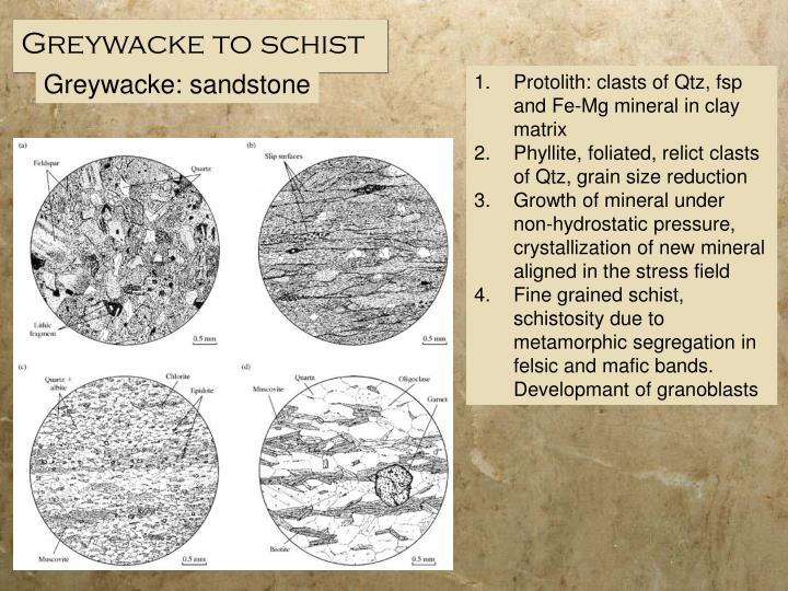 Greywacke to schist