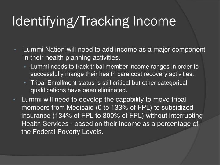 Identifying/Tracking Income