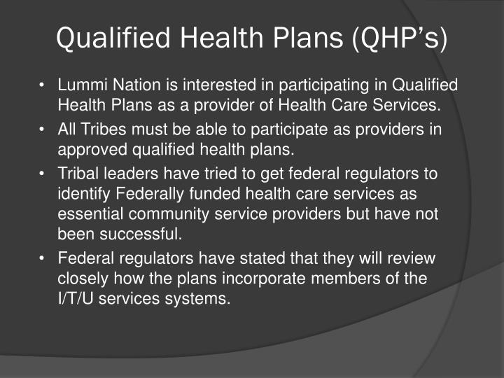 Qualified Health Plans (QHP's)