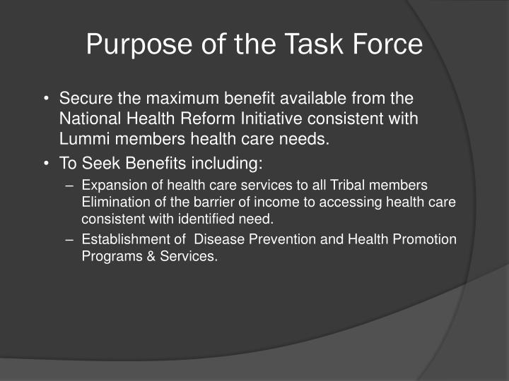 Purpose of the Task Force