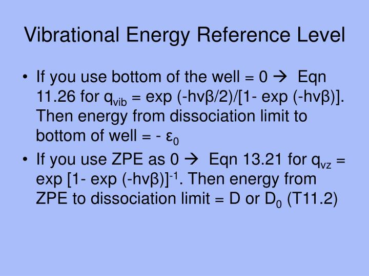 Vibrational Energy Reference Level
