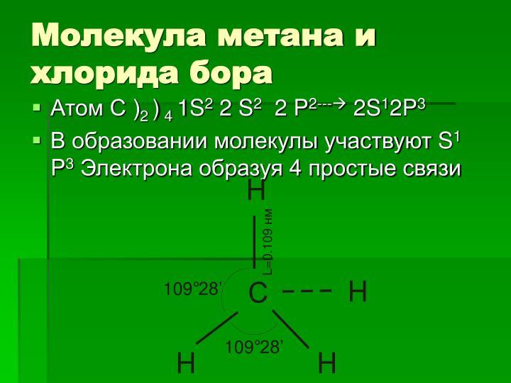 Молекула метана и хлорида бора