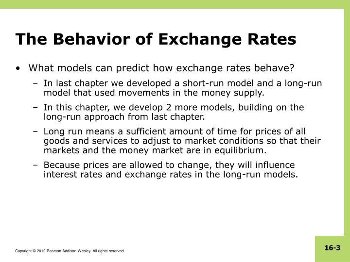 The Behavior of Exchange Rates