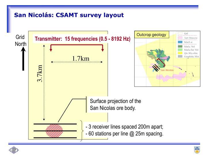 San Nicolás: CSAMT survey layout