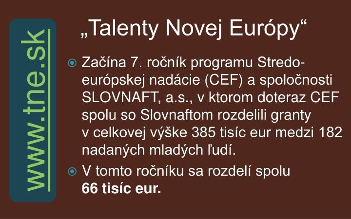 """""""Talenty Novej Európy"""""""
