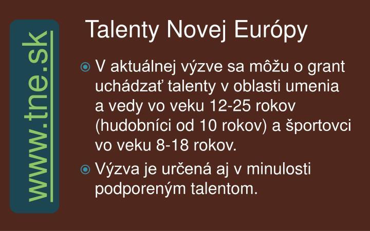 Talenty Novej Európy