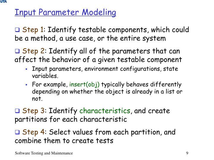 Input Parameter Modeling