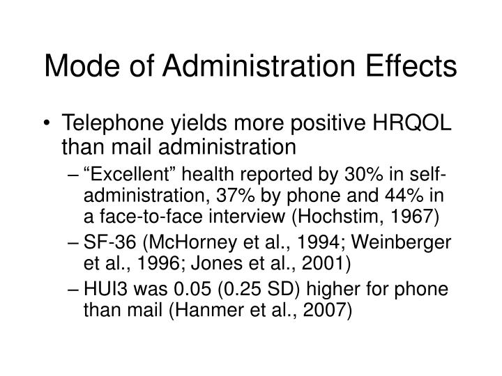 Mode of Administration Effects