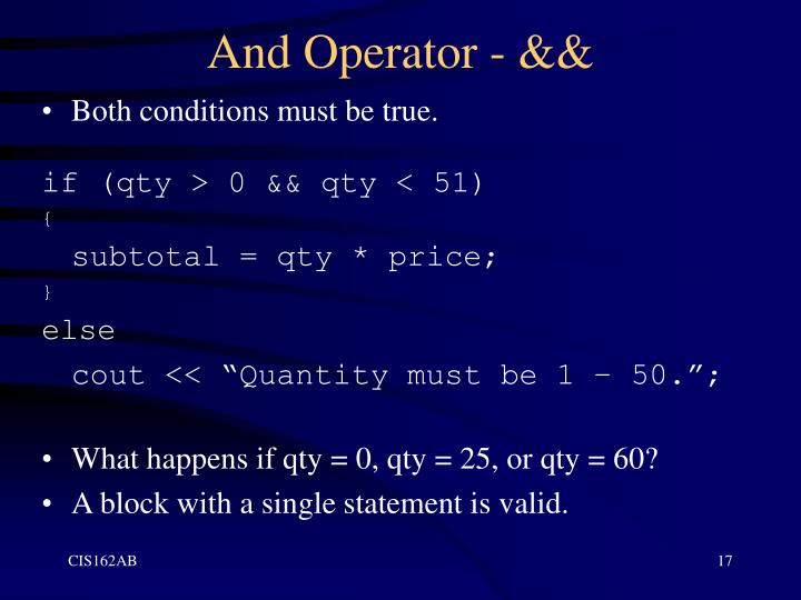 And Operator - &&
