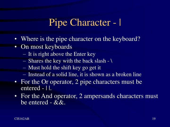 Pipe Character - |