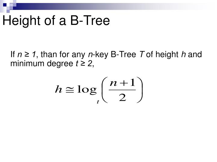 Height of a B-Tree
