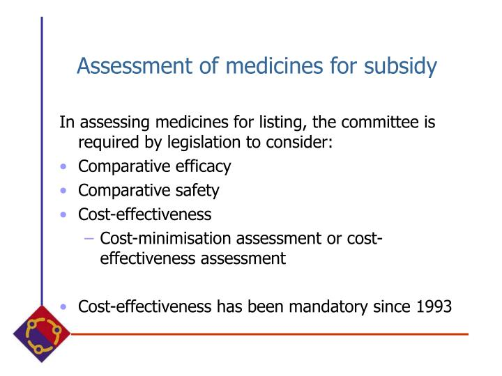 Assessment of medicines for subsidy