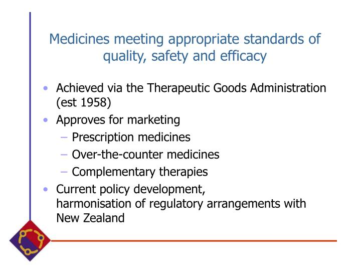 Medicines meeting appropriate standards of quality, safety and efficacy