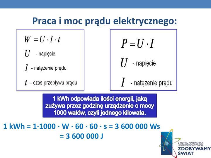 Praca i moc prądu elektrycznego: