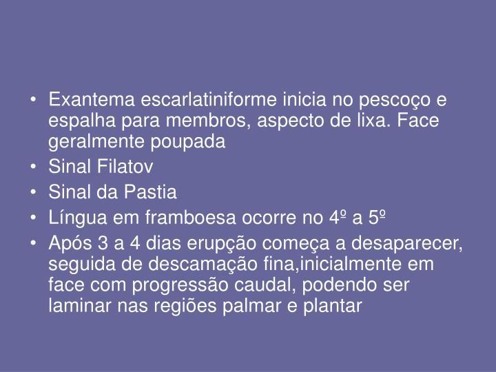 Exantema escarlatiniforme inicia no pescoço e espalha para membros, aspecto de lixa. Face geralmente poupada