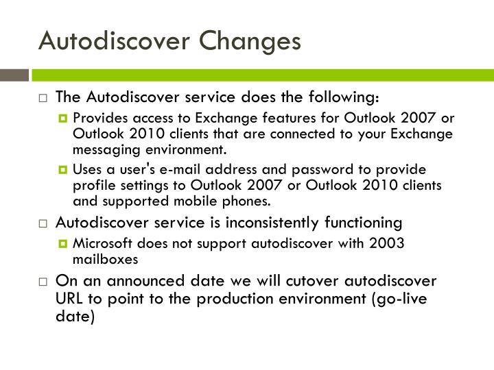 Autodiscover Changes