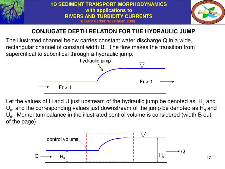 CONJUGATE DEPTH RELATION FOR THE HYDRAULIC JUMP