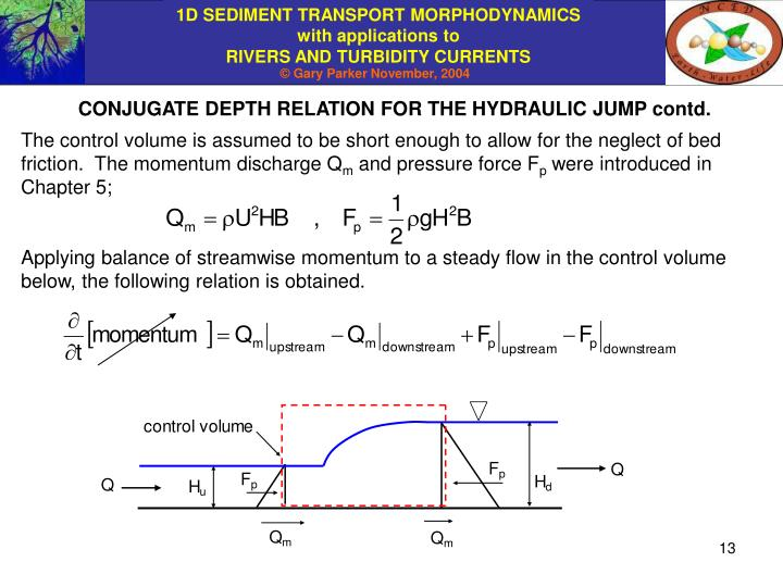 CONJUGATE DEPTH RELATION FOR THE HYDRAULIC JUMP contd.