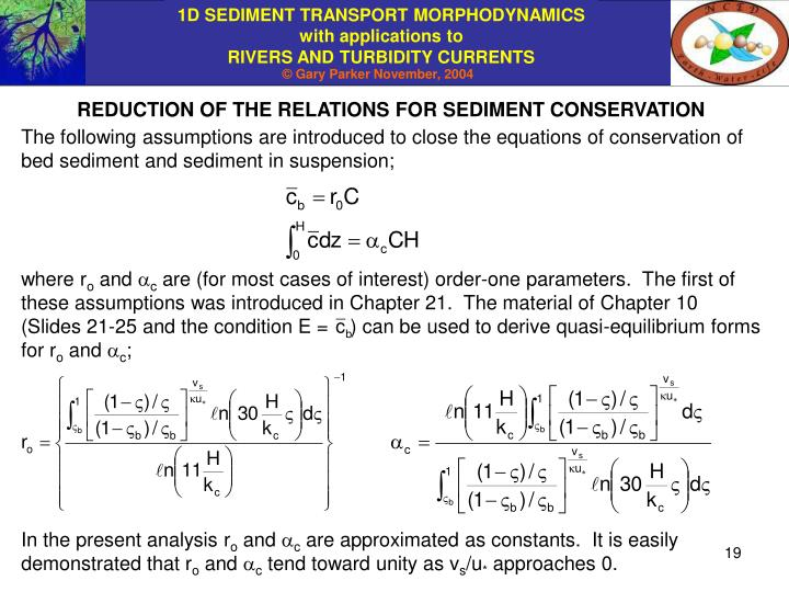 REDUCTION OF THE RELATIONS FOR SEDIMENT CONSERVATION