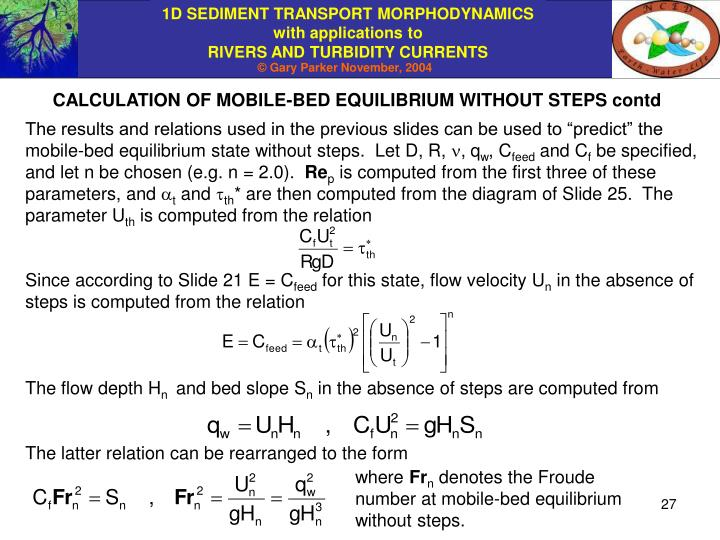 CALCULATION OF MOBILE-BED EQUILIBRIUM WITHOUT STEPS contd