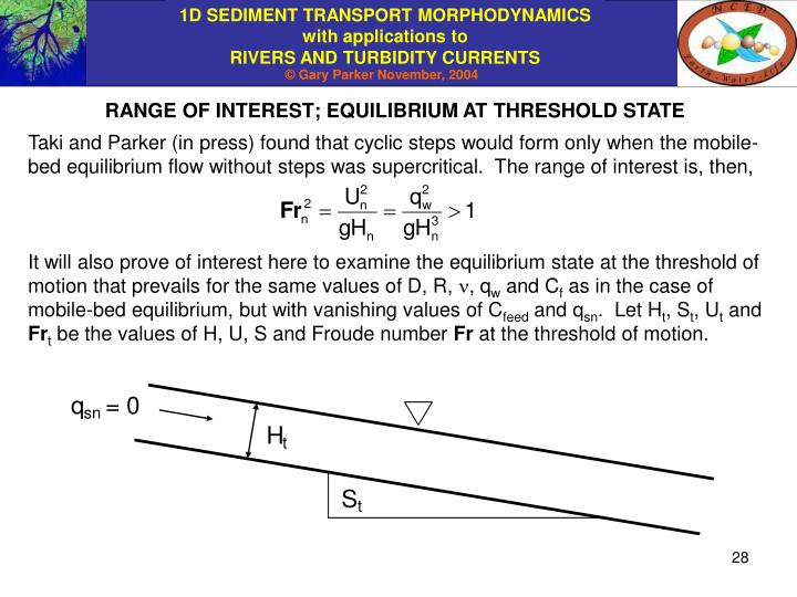 RANGE OF INTEREST; EQUILIBRIUM AT THRESHOLD STATE