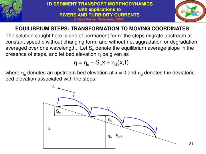 EQUILIBRIUM STEPS: TRANSFORMATION TO MOVING COORDINATES