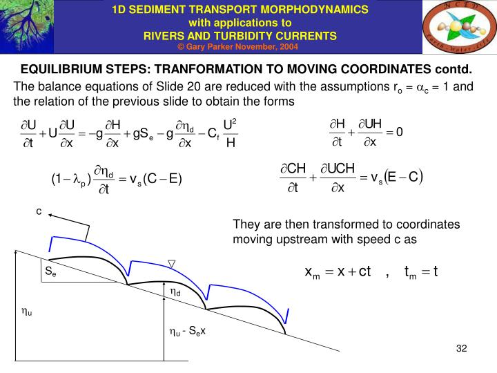 EQUILIBRIUM STEPS: TRANFORMATION TO MOVING COORDINATES contd.