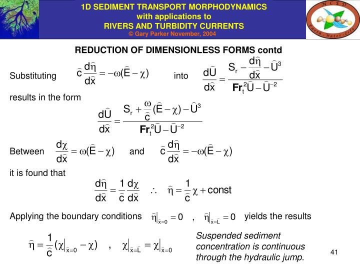 REDUCTION OF DIMENSIONLESS FORMS contd