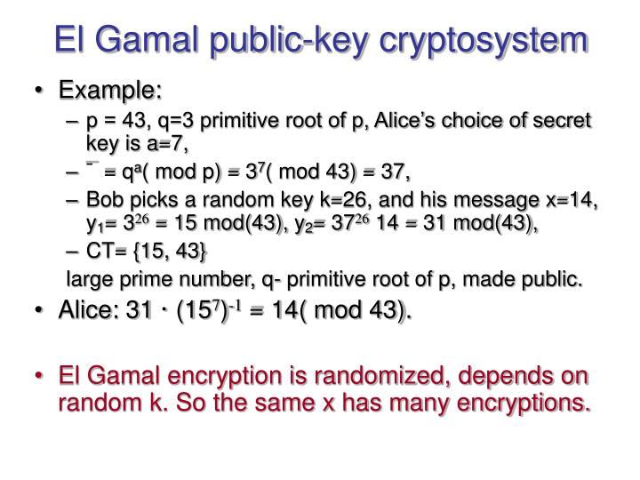 El Gamal public-key cryptosystem