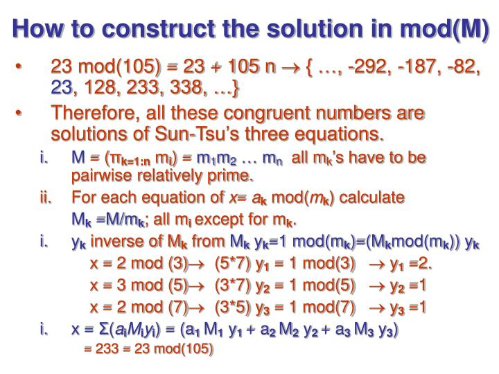 How to construct the solution in mod(M)