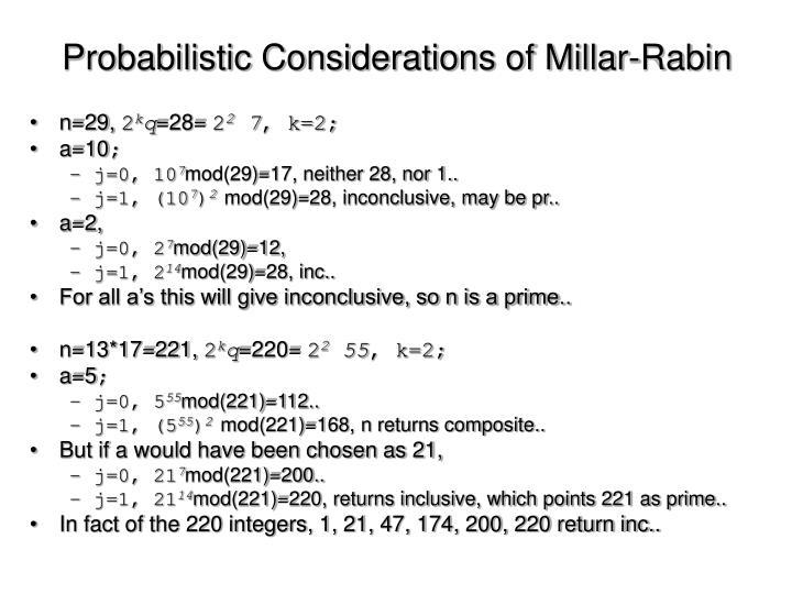 Probabilistic Considerations of Millar-Rabin