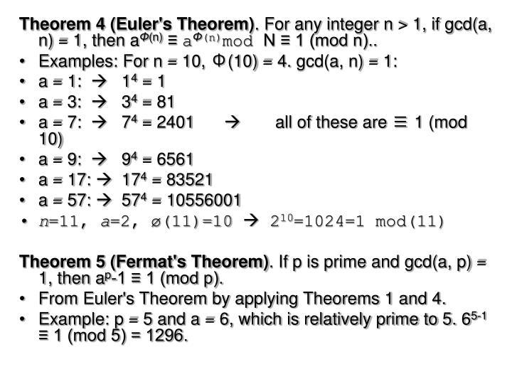 Theorem 4 (Euler's Theorem)
