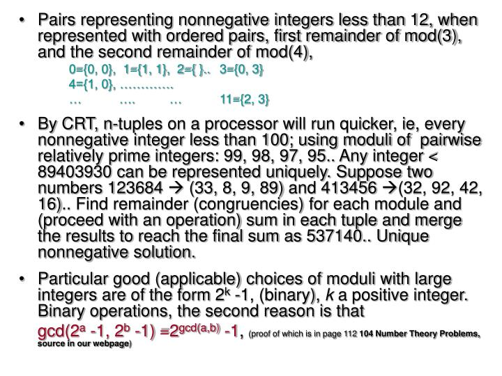 Pairs representing nonnegative integers less than 12, when represented with ordered pairs, first remainder of mod(3), and the second remainder of mod(4),