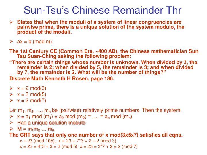 Sun-Tsu's Chinese Remainder Thr