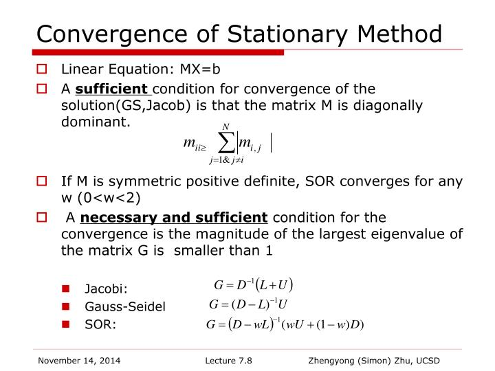 Convergence of Stationary Method