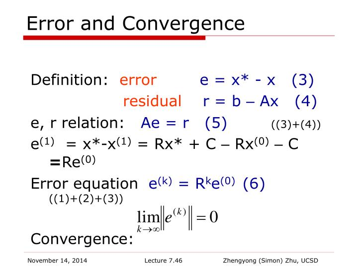 Error and Convergence