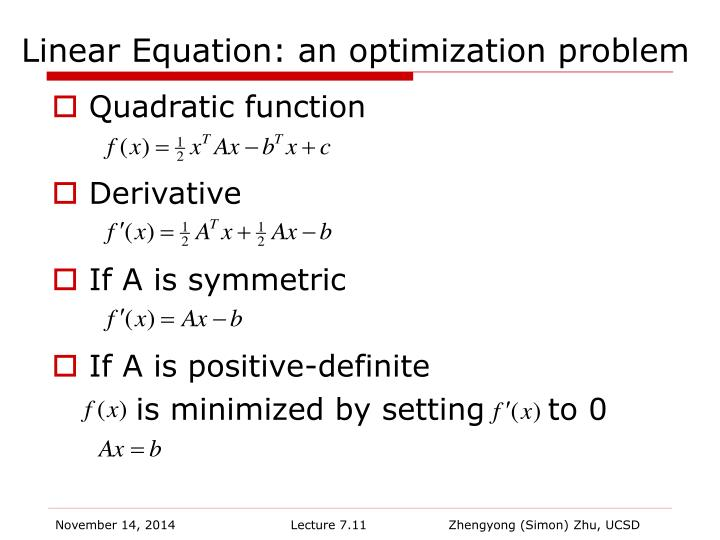 Linear Equation: an optimization problem