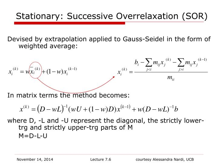 Stationary: Successive Overrelaxation (SOR)
