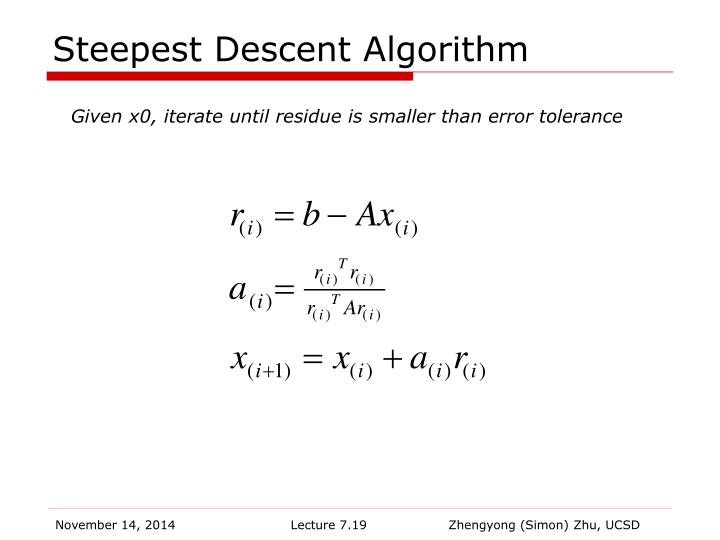Steepest Descent Algorithm
