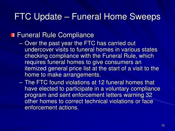 FTC Update – Funeral Home Sweeps