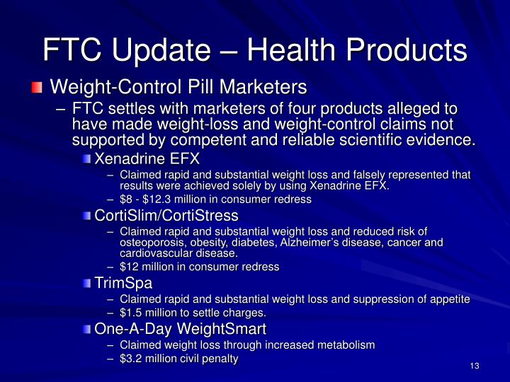 FTC Update – Health Products