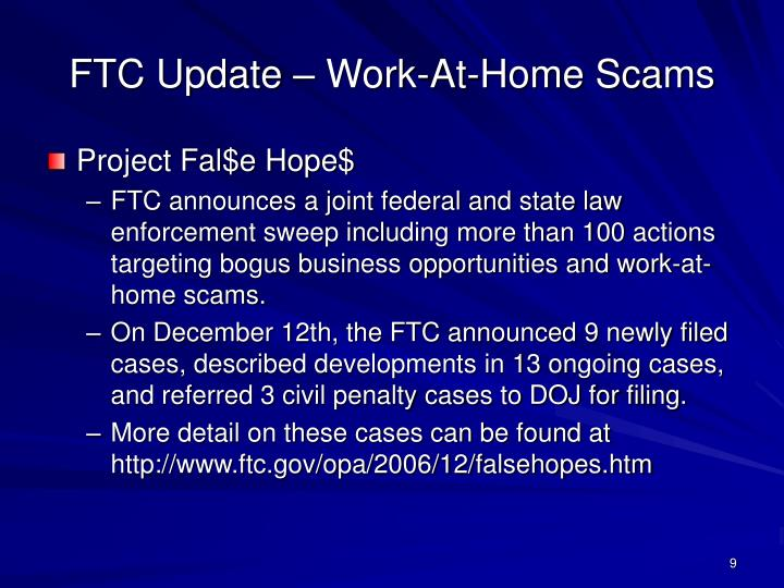 FTC Update – Work-At-Home Scams